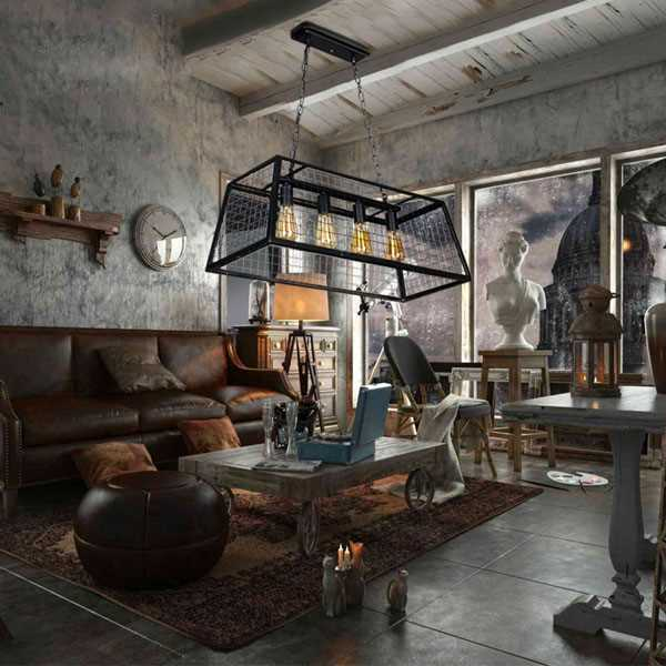 Iron Living Room,Villa/ Painting And Sanding Antique Chandelier In Hotel Lobby,4 Lights