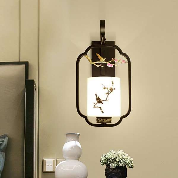 Iron Art,Glass Living Room,Study/ Bedroom,Restaurant Painted Matte New Chinese Wall Lamp, Single Head