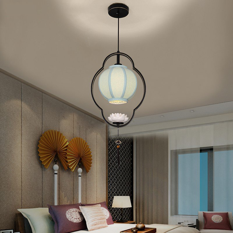 Iron Art,Cloth Art,Ceramic Cloakroom,Study/ Bedroom,Restaurant Spray Sanding New Chinese Chandelier,1 Lights