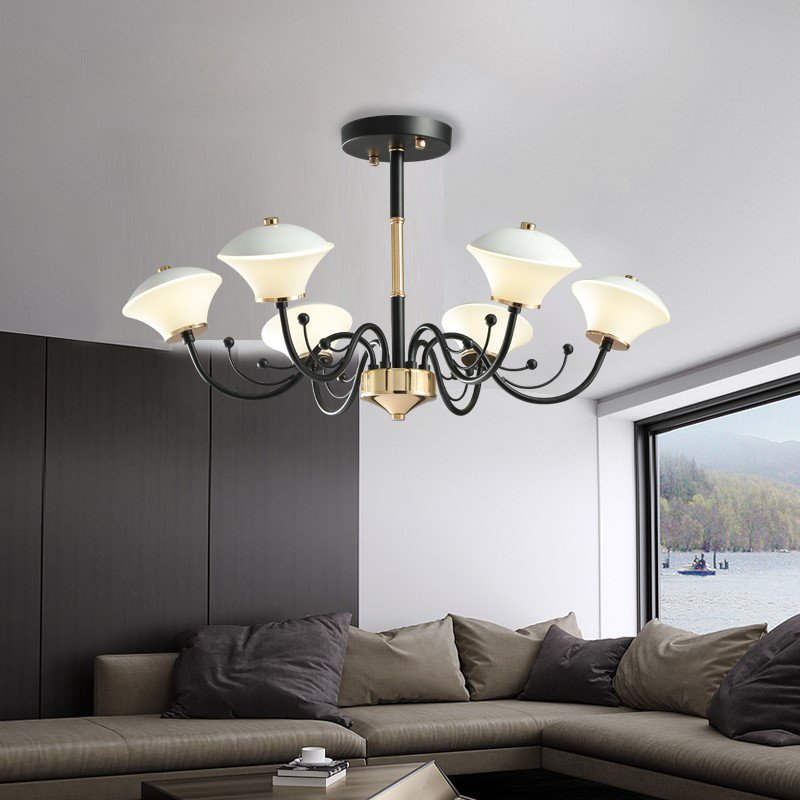 Iron Art,Glass Living Room,Study/ Bedroom,Restaurant American Simple Chandelier,6 Lights