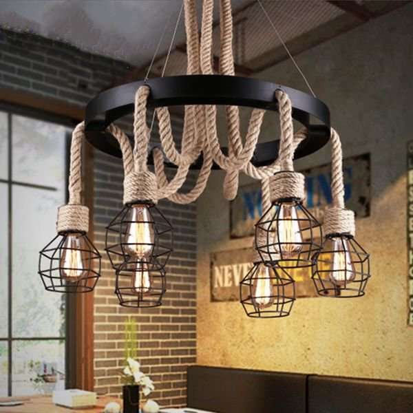 Iron Art,Hemp Rope Living Room,Restaurant Paint Scrub Industrial Wind Chandelier,6 Lights