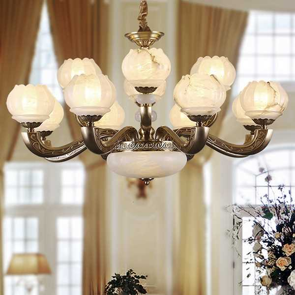Copper,Marble,Jade Living Room,Villa/ Hotel Lobby Dyed European Chandelier,12 Lights