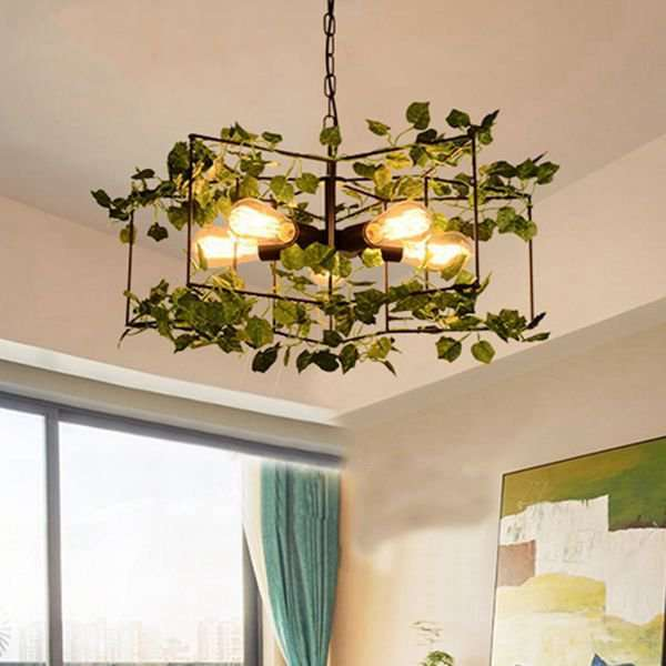 Iron Living Room,Restaurant Paint Scrub Industrial Wind Chandelier,5 Lights