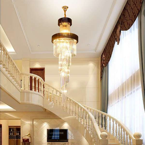 Iron Art,Crystal Villa/ The Hotel Lobby,High Level/ Duplex,Stairs/ Corner Electroplated European Chandelier,11 Lights