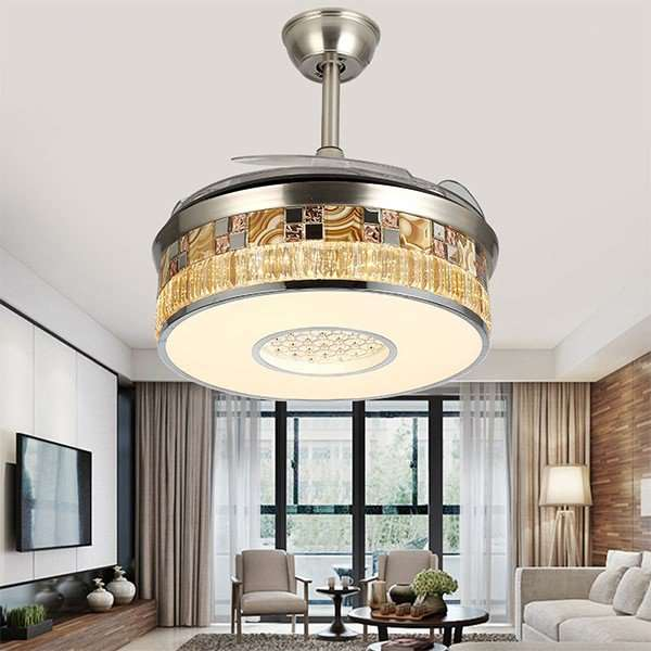 Iron Art,Crystal,Copper,PC Restaurant,Living Room Electroplating Modern Simple Fan Light,1 Lights