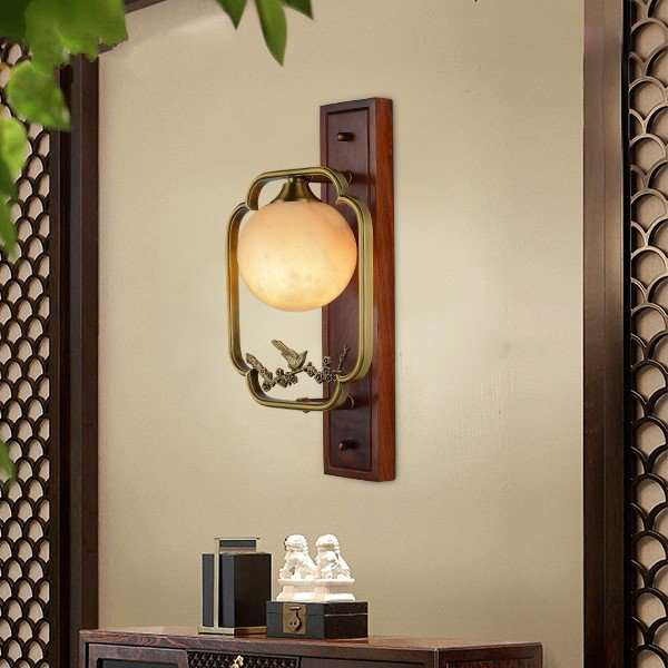 Copper,Marble,Wooden Living Room,Study/ Bedroom,Villa/ New Chinese Wall Lamp Carved In The Lobby Of The Hotel, Single Head