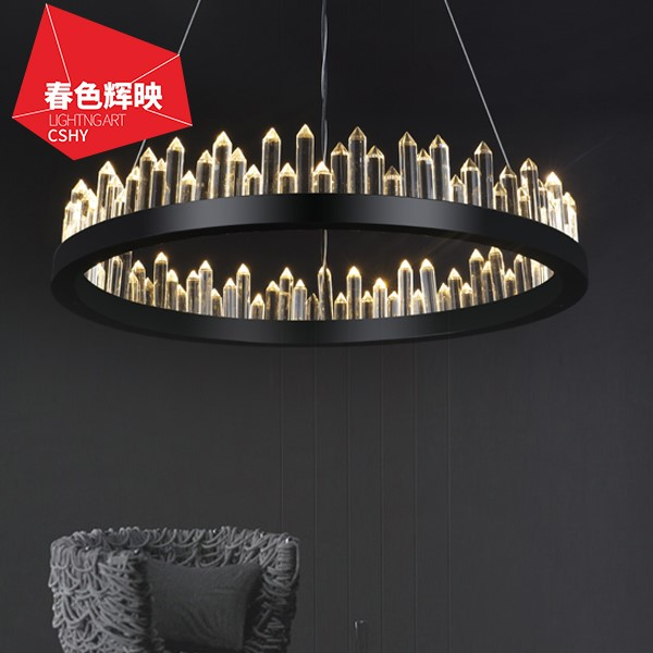 Iron Art,Crystal Living Room,Restaurant Painted Frosted Post Modern Chandelier,1 Lights