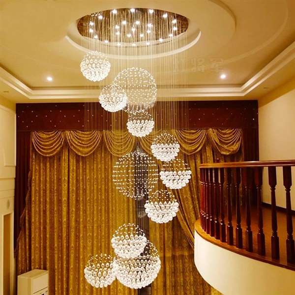 Crystal,Stainless Steel Staircase/ Corner,High Level/ Duplex Drawing Hanging Modern Minimalist Chandelier,20 Lights
