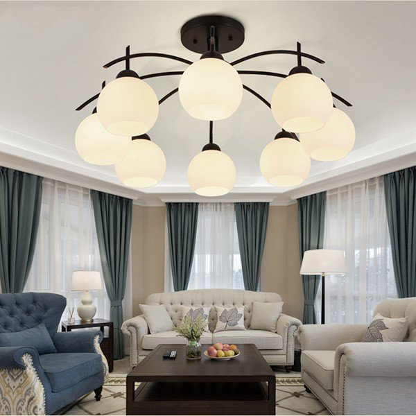 Iron Art,Glass Living Room,Restaurant Painting And Sanding Northern Europe\ IKEA Chandelier,8 Lights