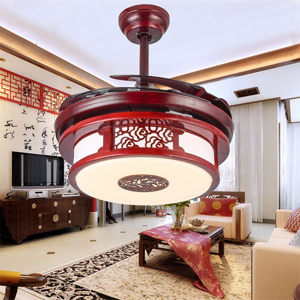 Iron Art,Crystal,PC Restaurant,Living Room Electroplating Chinese Fan Light,1 Lights