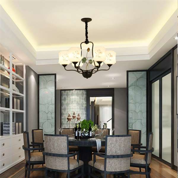 Iron Art,Glass,Ceramics,Resin Study Room/ Bedroom,Restaurant Spray Sanding New Chinese Chandelier,6 Lights
