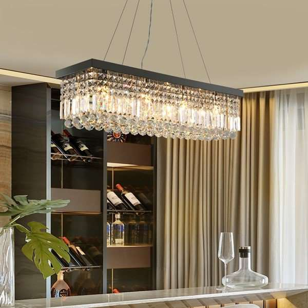 Crystal,Stainless Steel Restaurant Drawstring Hanging Post Modern Chandelier,10 Lights