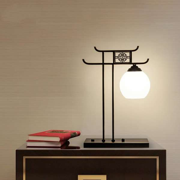 Iron Art,Glass Living Room,Study/ Bedroom,Restaurant Painted Matte New Chinese Table Lamp