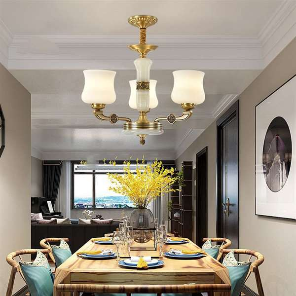 Copper,Jade,Glass Restaurant,Study/ Bedroom,High Level/ Compound Dyeing New Chinese Chinese Chandelier,3 Lights