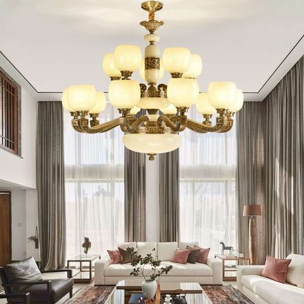 Glass,Copper,Jade Villa/ The Hotel Lobby,Living Room Dyeing New Chinese Chandelier,15 Lights