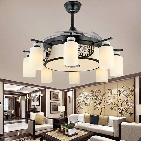 Iron Art,Acrylic,PC Study/ Bedroom,Restaurant,Living Room Plating New Chinese Fan Light,8 Lights