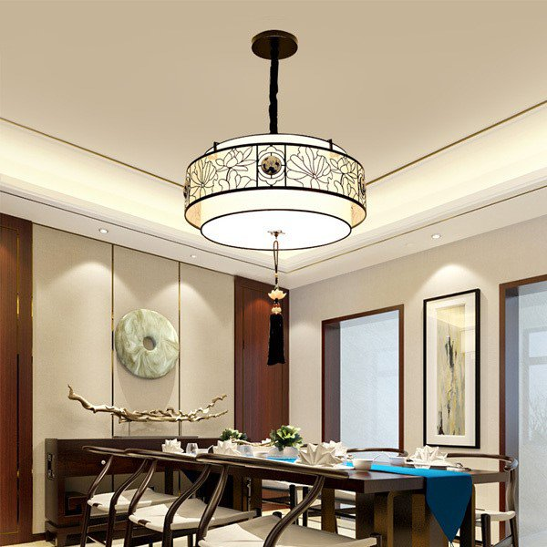 Iron Art,Cloth Restaurant,Study/ Bedroom Painted Frosted New Chinese Chandelier,4 Lights