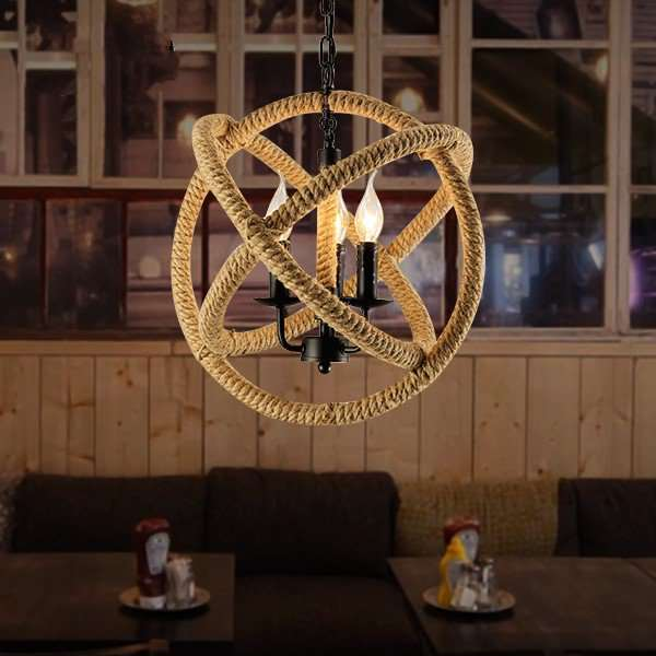 Iron Art,Hemp Rope Restaurant Spray Paint Frosted American Simple Chandelier,3 Lights