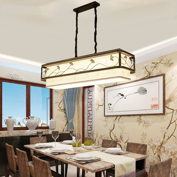 Iron Art,Copper,Cloth Art,Acrylic Restaurant Forged New Chinese Chandelier,1 Lights