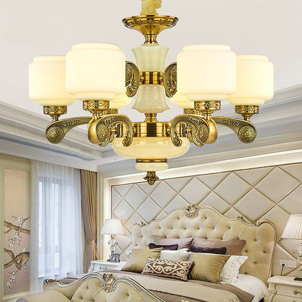 Iron Art,Zinc Alloy,Jade,Glass Study Room/ Bedroom,Restaurant,Cloakroom Plating New Chinese Chandelier,6 Lights