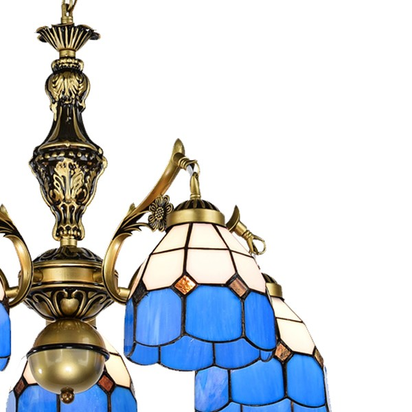 Iron Art,Glass,Zinc Alloy Restaurant Mediterranean Chandelier,5 Lights
