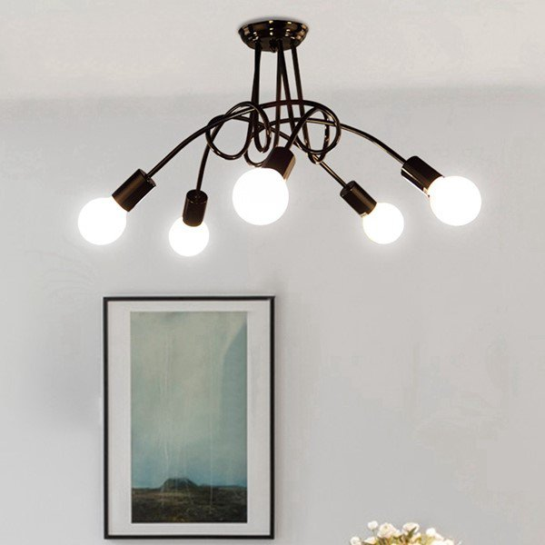 Iron Art Study Room/ Bedroom,Restaurant Paint Scrub Industrial Wind Chandelier,5 Lights