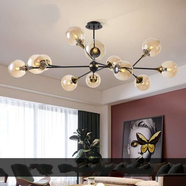 Iron Art,Glass Living Room,Study/ Bedroom,Restaurant Painted Frosted Post Modern Chandelier,12 Lights