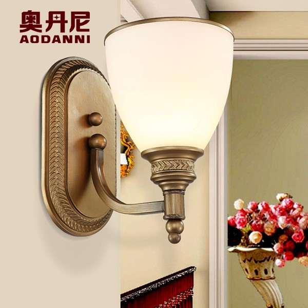 Iron Art,Glass Living Room,Study/ Bedroom Hot Bend American Country Wall Lamp, Single Head