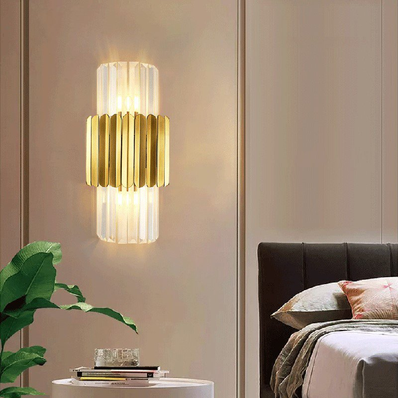 Crystal,Iron Art,Stainless Steel Living Room,Study/ Bedroom,Stairs/ Corner Electric Punching Light Luxury Wall Lamp, Double Head