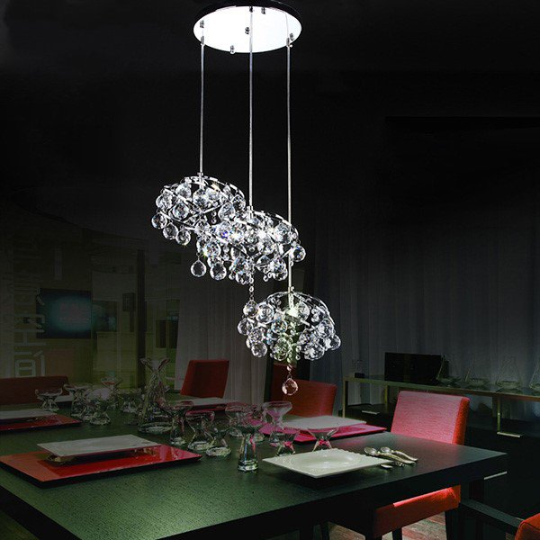 Iron Art,Crystal Corridor/ Aisle/ Entrance,Restaurant Plated Modern Minimalist Chandelier,3 Lights