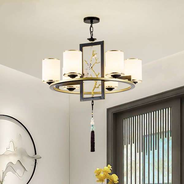 Iron Art,Glass,Copper Living Room,Study/ Bedroom,Restaurant Forged New Chinese Chandelier,6 Lights