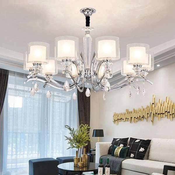 Iron Art,Glass,Crystal Living Room,Restaurant Plated Modern Minimalist Chandelier,10 Lights