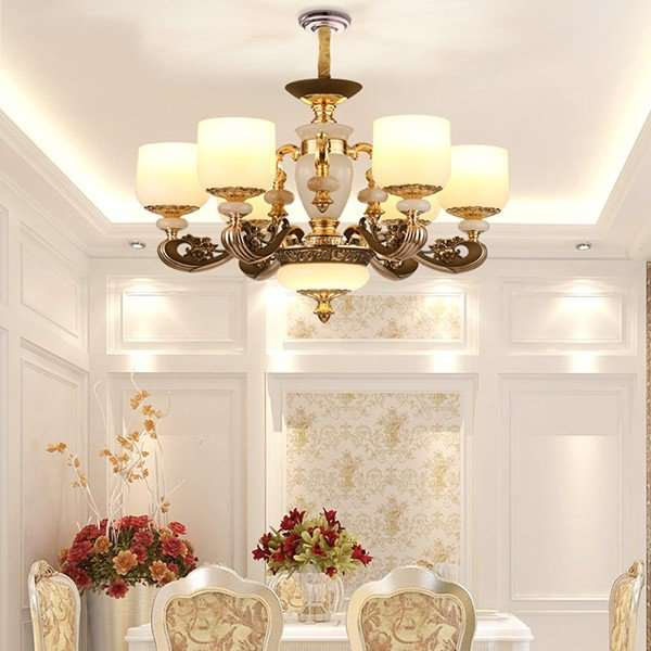 Zinc Alloy,Imitation Jade,Glass Study Room/ Bedroom,Restaurant,Corridor/ Aisle/ Porch Plating European Style Chandelier,6 Lights