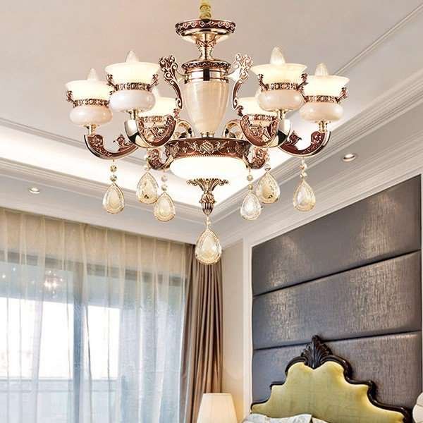 Zinc Alloy,Jade,Crystal Living Room,Study/ Bedroom,Restaurant Electroplating European Chandelier,6 Lights