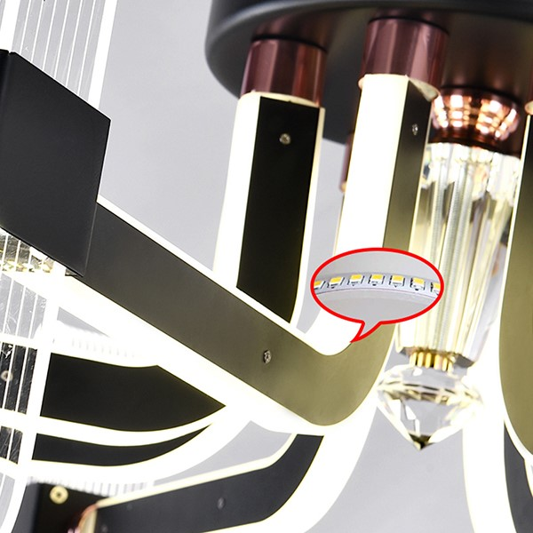 Acrylic,Stainless Steel Restaurant Electroplating Modern Simple Chandelier,6 Lights