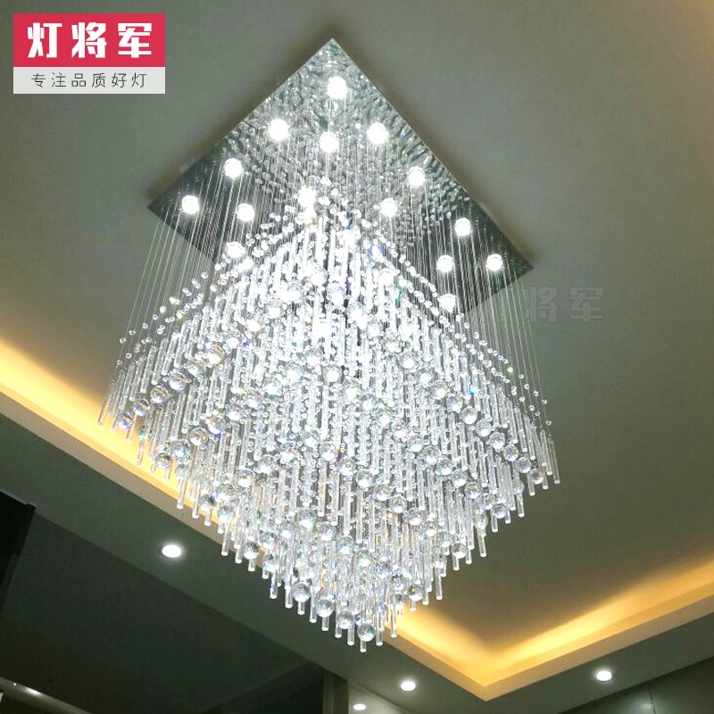 Crystal,Stainless Steel Staircase/ Corner,High Level/ Duplex Drawing Hanging Modern Minimalist Chandelier,24 Above The Head