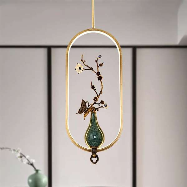 Ceramics,Copper,Acrylic Restaurant,Study/ Bedroom,Living Room Brushed Hanging New Chinese Chandelier,1 Lights