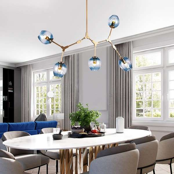Iron Art,Glass Living Room,High Level/ Post Modern Chandelier With Compound Painting And Sanding,5 Lights