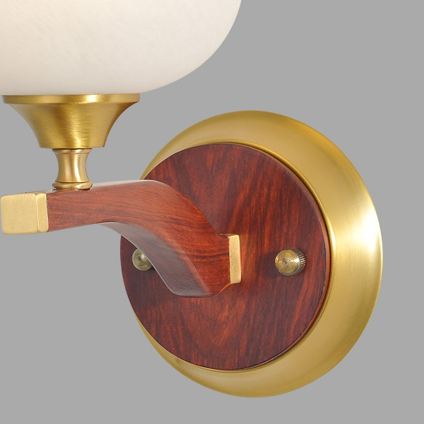 Glass,Copper,Wooden Living Room,Study/ Bedroom,Corridor/ Aisle/ Porch Spray Paint Frosted New Chinese Wall Lamp, Single Head