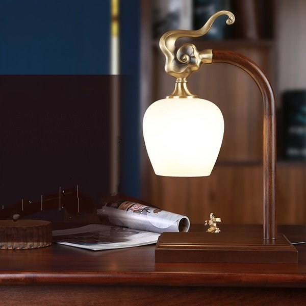Glass,Copper,Wooden Study Room/ Bedroom,Chess Room/ Mahjong Hall Forging Chinese Table Lamp