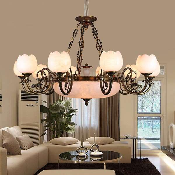 Copper,Marble Living Room,High Level/ Compound Dyeing European Chandelier,10 Lights