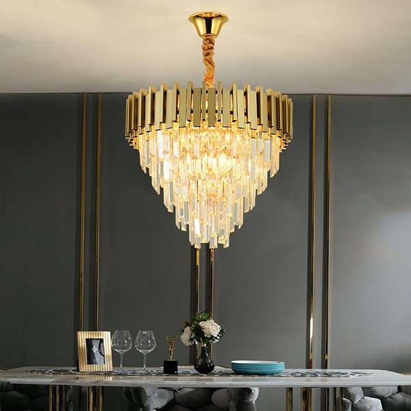 Iron Art,Crystal Restaurant,Study/ Bedroom Plating Modern Minimalist Chandelier,9 Lights