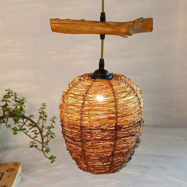 Rattan Art Study Room/ Bedroom,Corridor/ Aisle/ Porch Hand-woven American Country Chandelier,1 Lights