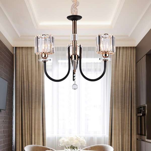 Iron Art,Crystal Restaurant,Study/ Bedroom Plating Modern Minimalist Chandelier,3 Lights