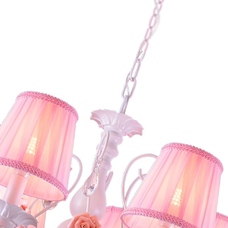 Iron Art,Crystal,Cloth Children's Room,Study/ Bedroom Spray Paint Frosted Simple European Chandelier,6 Lights