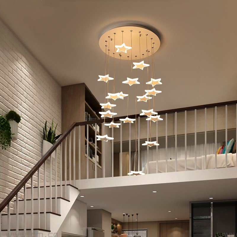 Iron Art,Acrylic High Rise/ Duplex,Stairs/ Corner,Restaurant Painted Matte Modern Minimalist Chandelier,8 Lights