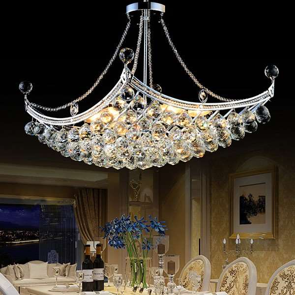 Iron Art,Crystal Restaurant,Kitchen Electroplated European Chandelier,6 Lights