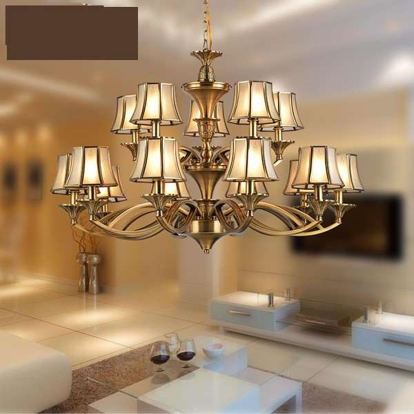Glass,Copper Living Room,High Level/ Compound Soldering European Chandelier,15 Lights