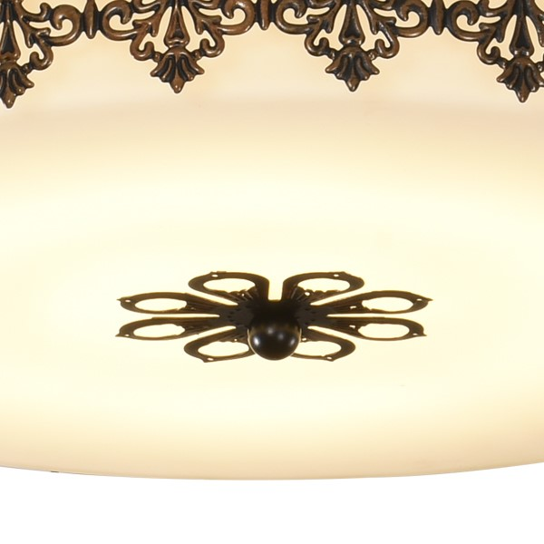 Iron Art,Glass Study Room/ Bedroom Hollow Carved American Simple Ceiling Lamp