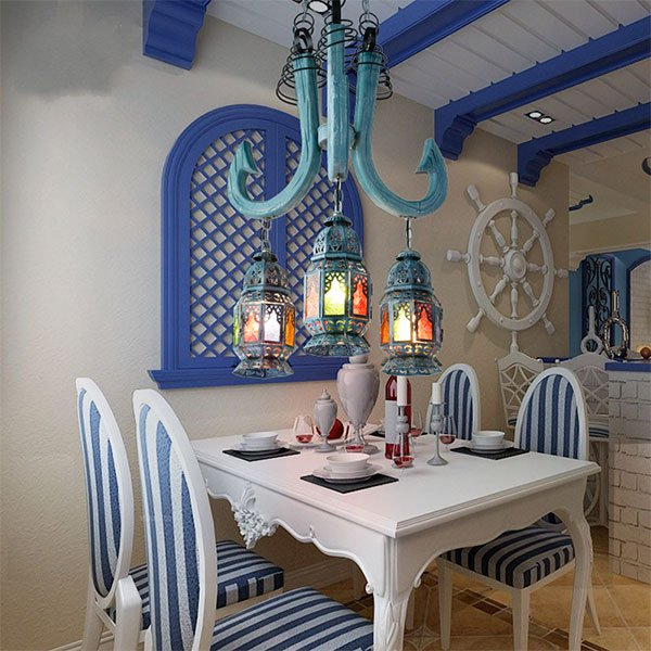 Iron Art,Wooden Living Room,Restaurant Carved Mediterranean Chandelier,3 Lights